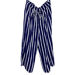 Adrienne Vittadini Navy White Striped Casual Pants